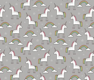 Cute Unicorn Rainbow in Grey fabric by caja_design