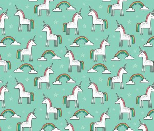 Cute Unicorn Rainbow in Mint fabric by caja_design