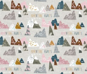 Max's Mountains pink fabric by nouveau boh