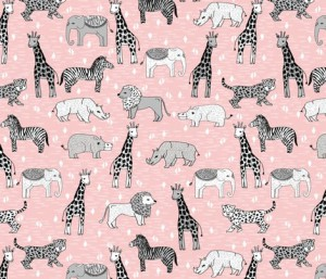 jungle :: safari zoo kids baby pink nursery rhino cheetah lion giraffe fabric by andrea_lauren