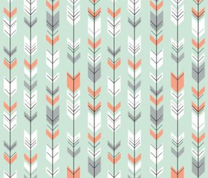 Fletching arrows on mint fabric by littlearrowdesign