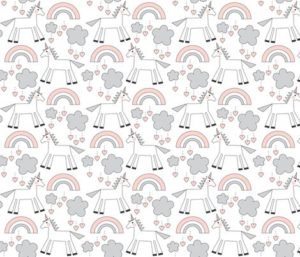 Unicorns on white – soft pink fabric by lilcubby