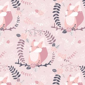 Fox in a wreath fabric by innamoreva