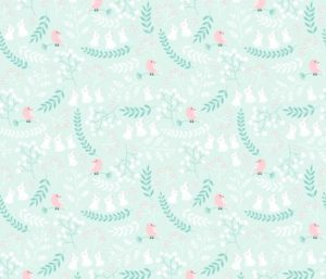 Rabbits and Birds fabric by innamoreva
